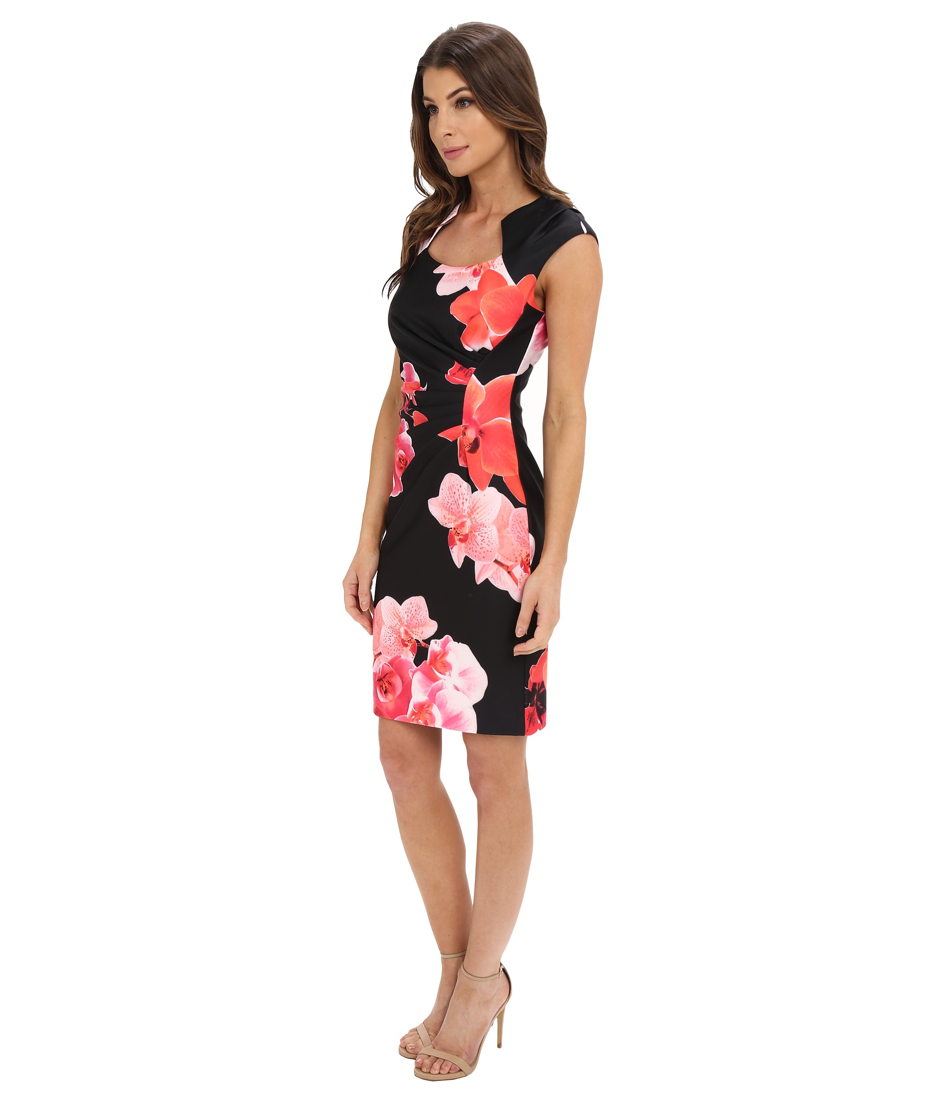 447f9f9c8a Lyst - Calvin Klein Floral Print Sheath Dress Cd6m4021 in Black
