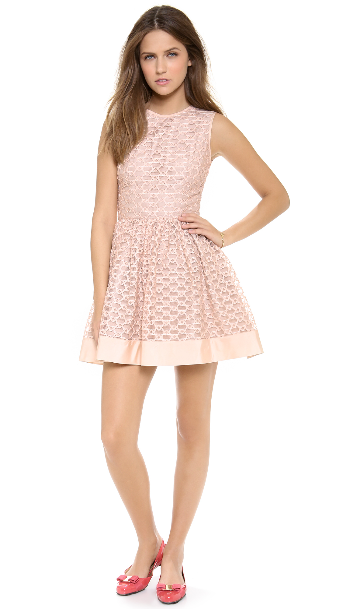 Red valentino ribbon embroidery dress in pink opaline lyst