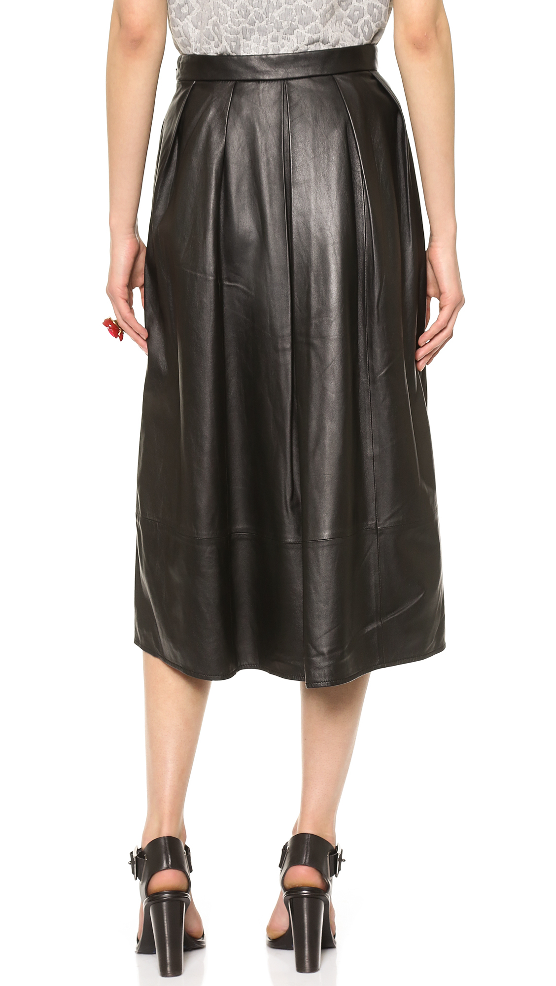 Lyst Tibi Full Leather Skirt Black In Black