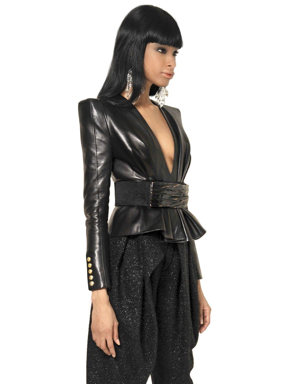 balmain nappa leather kimono jacket in black lyst. Black Bedroom Furniture Sets. Home Design Ideas