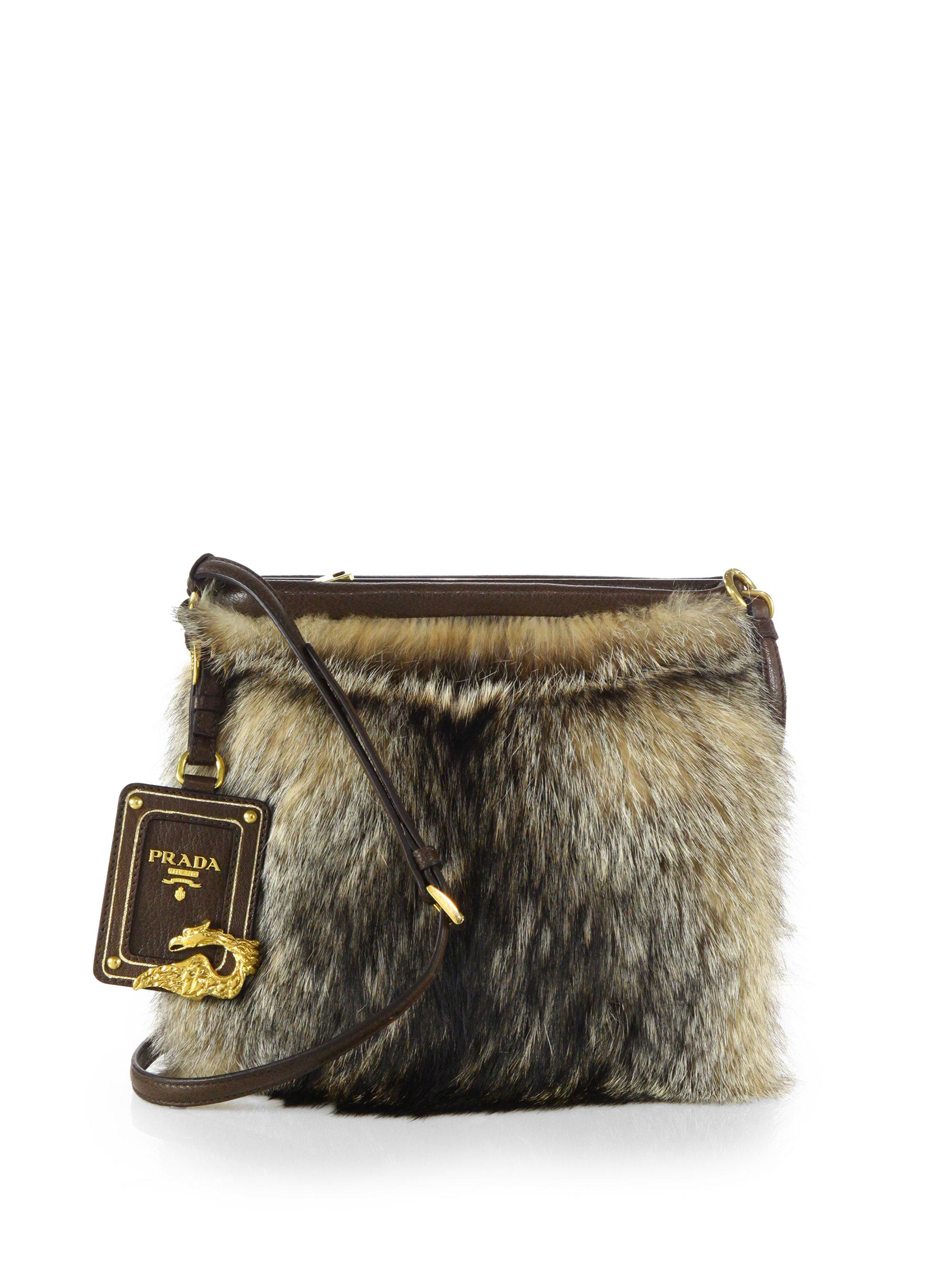 prada beige fur handbag