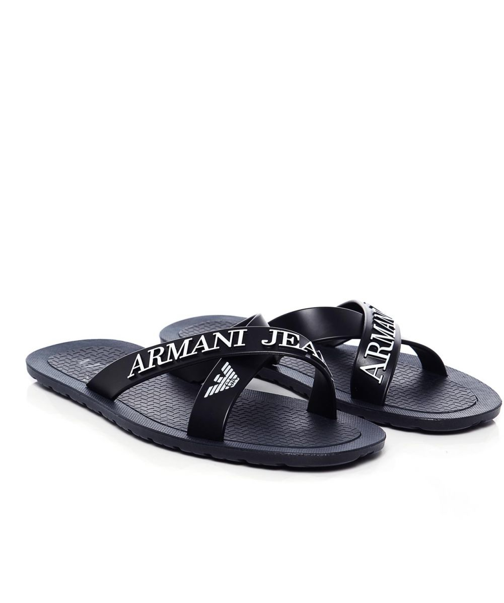 681915aeb4a8 Lyst - Armani Jeans Logo Cross Sandals in Blue for Men