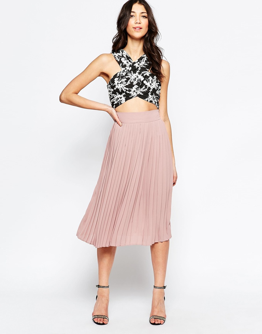 Lavand Pleated Midi Skirt in Pink | Lyst