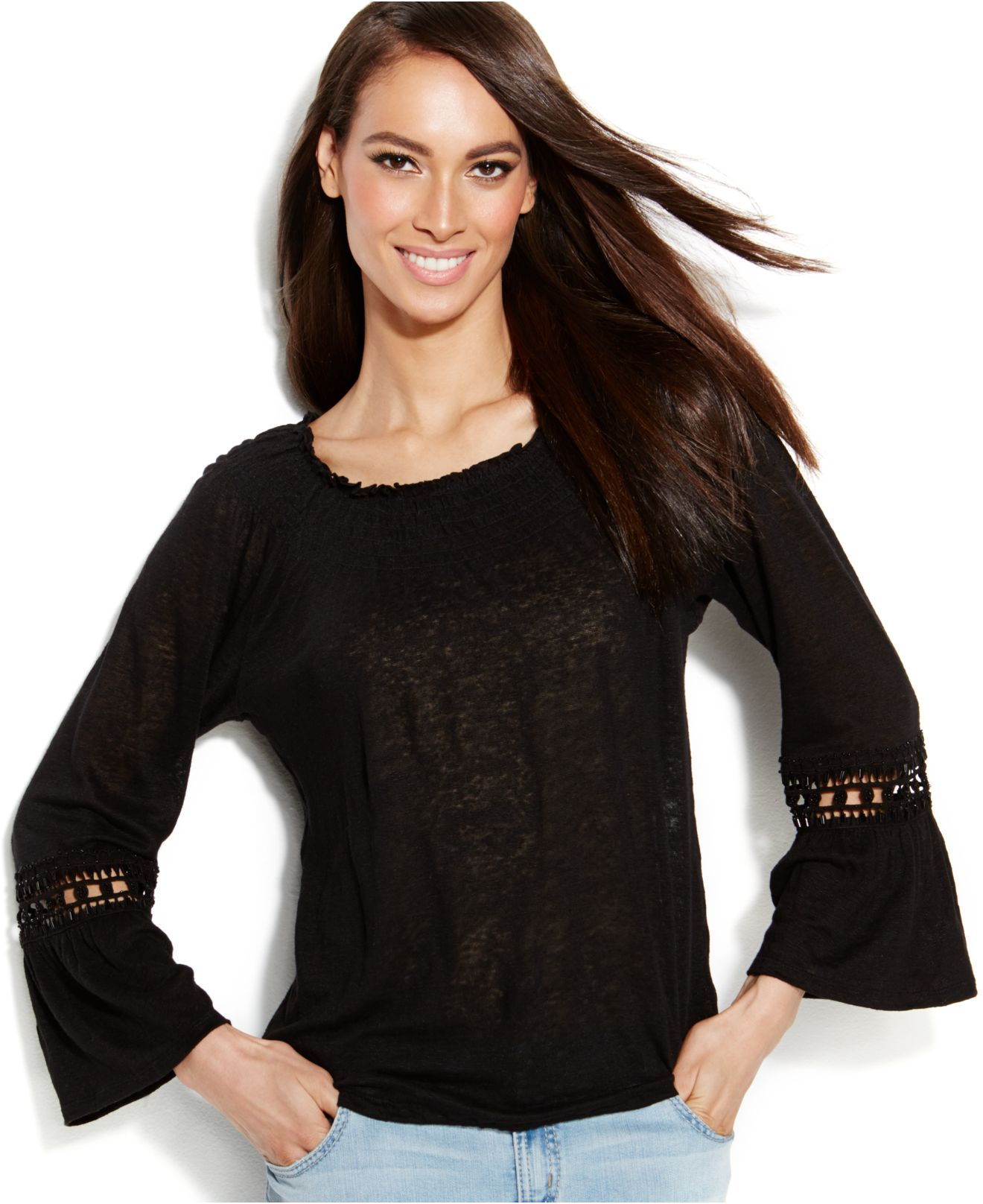 Inc International Concepts Bell Sleeve Beaded Peasant Top