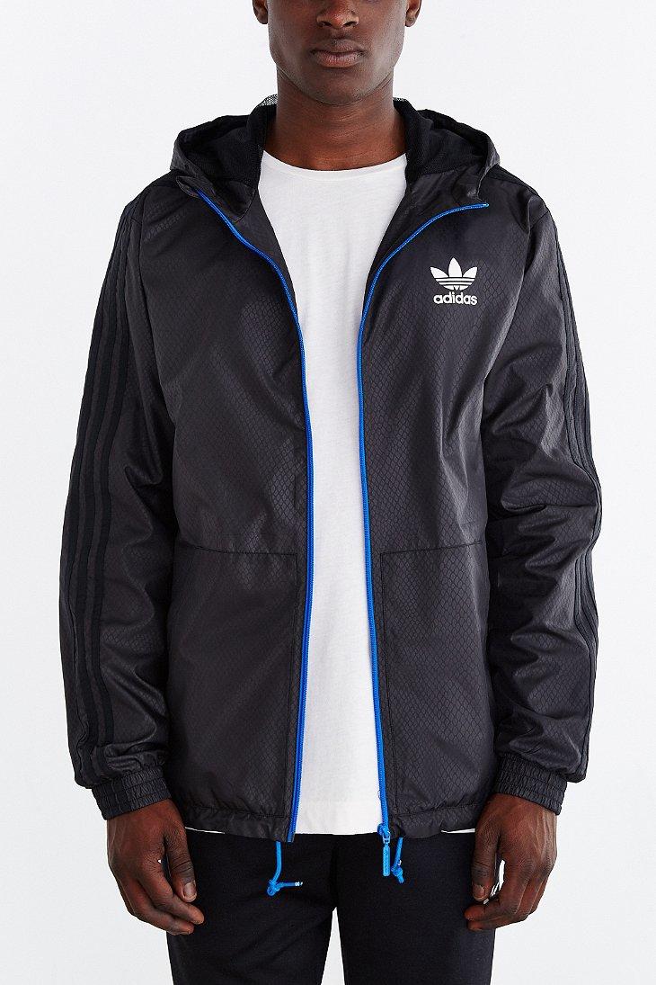 adidas originals itasca print windbreaker jacket in black. Black Bedroom Furniture Sets. Home Design Ideas