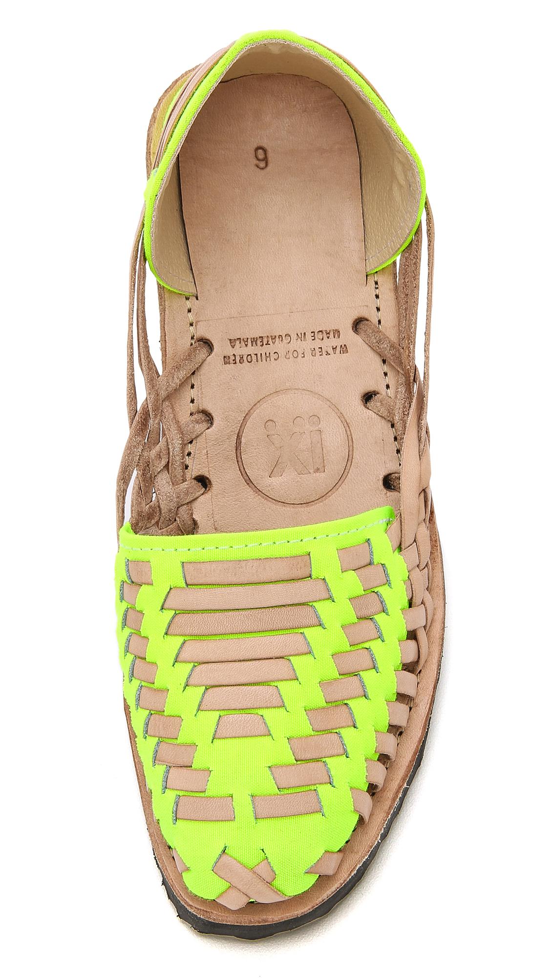 4b7611aa7faf Ix Style Woven Leather Huarache Flats - Yellow Neon in Yellow - Lyst