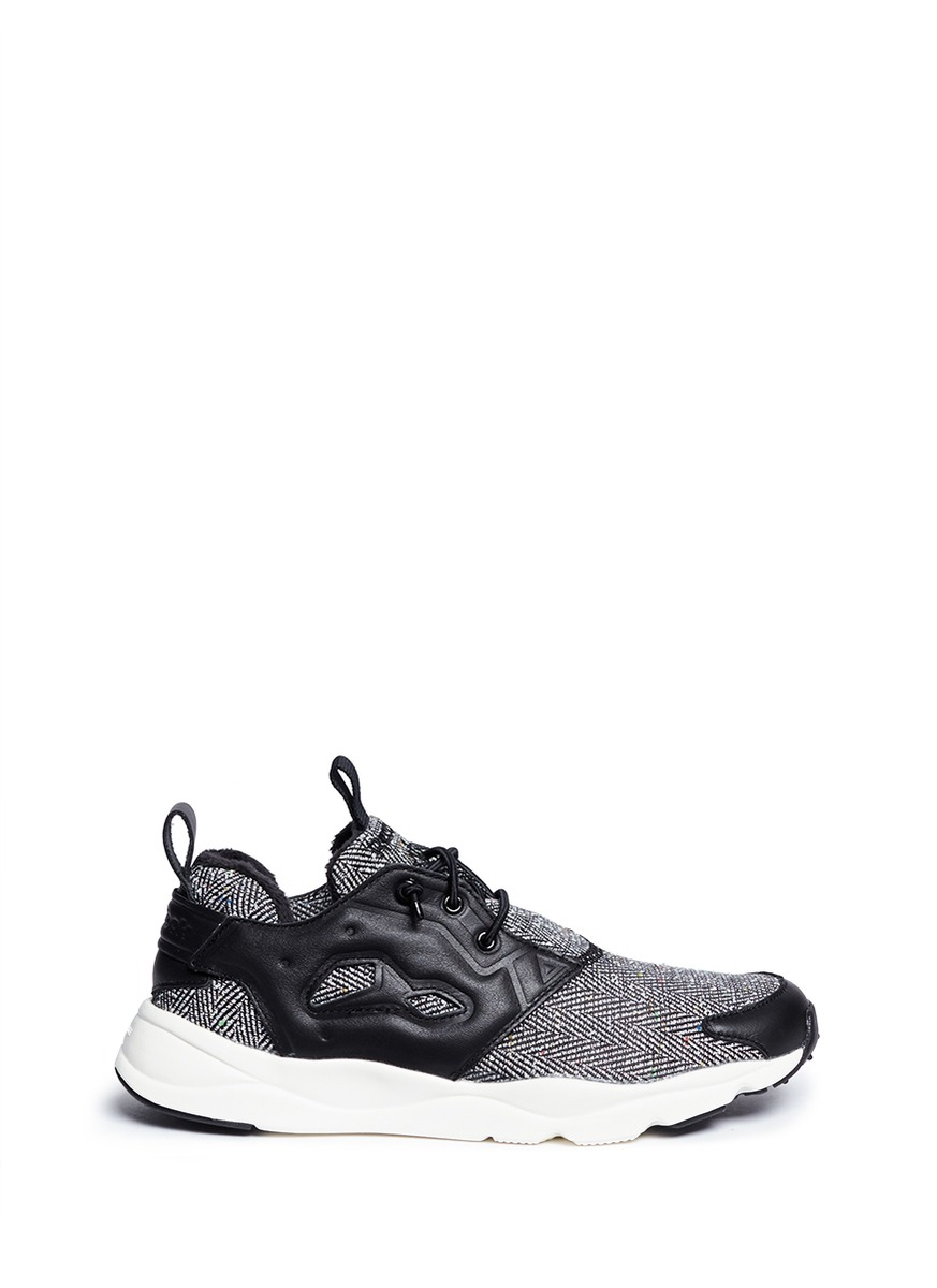 Reebok  furylite Winter  Leather Trim Herringbone Sneakers in Black ... 1b6a52d99