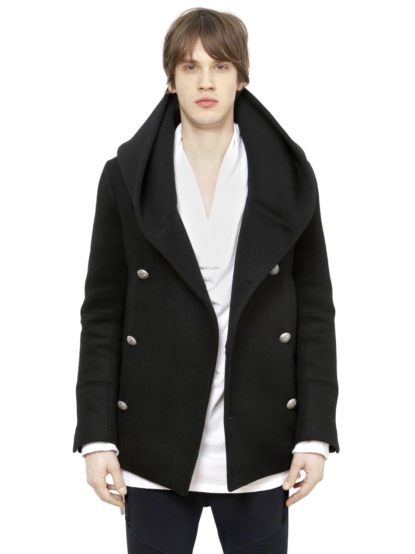 Balmain Hooded Duffle Wool Peacoat in Black for Men | Lyst