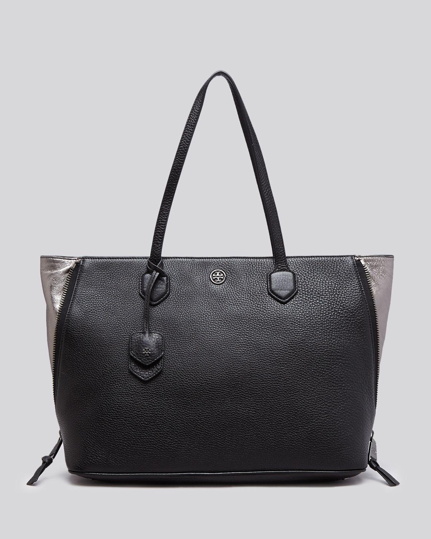 4e1b927c68e8 Lyst - Tory Burch Tote - Robinson Pebbled Side Zip in Black