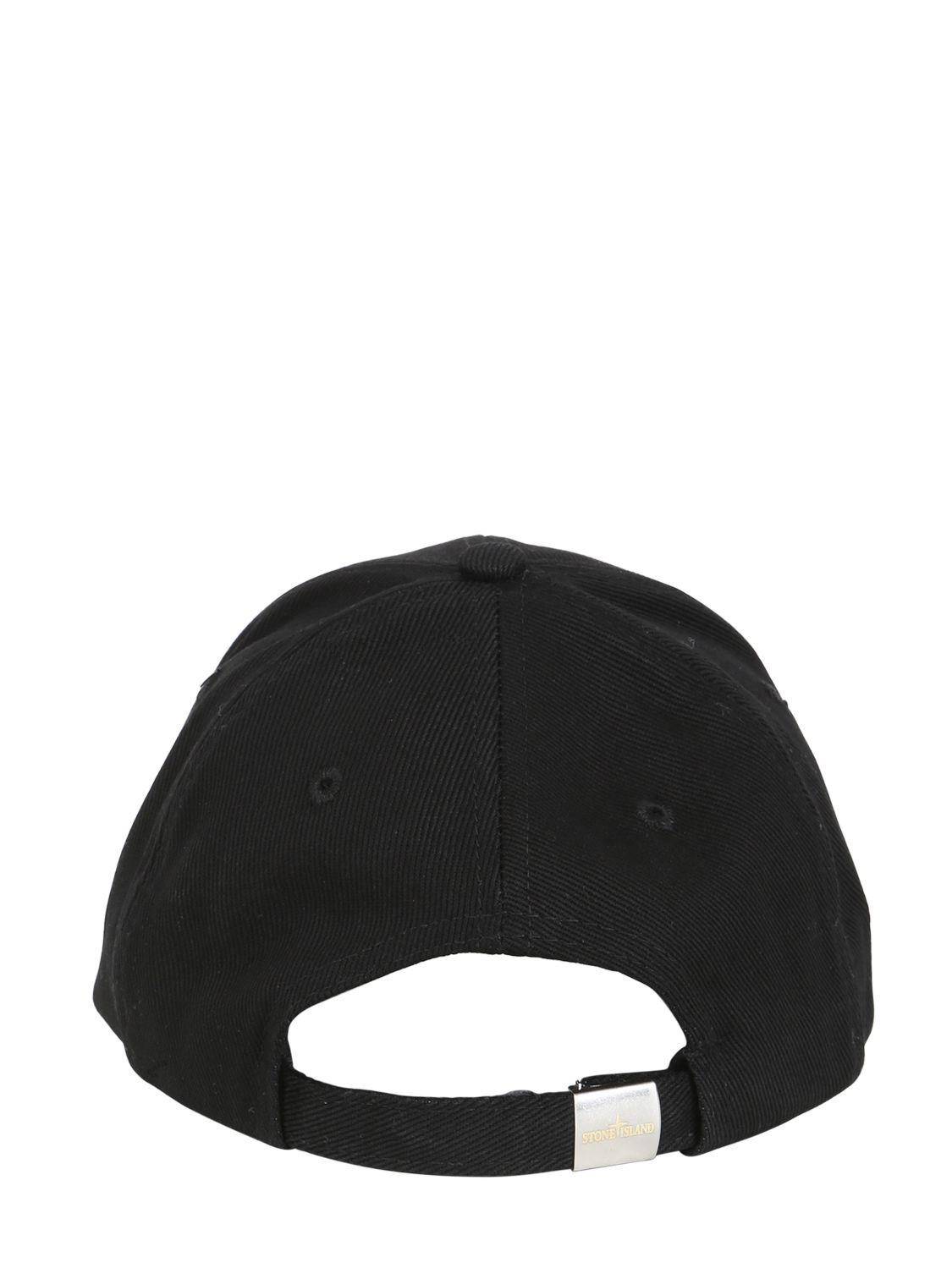 Lyst - Stone Island Cotton Gabardine Baseball Cap in Black for Men ff454a3d45a
