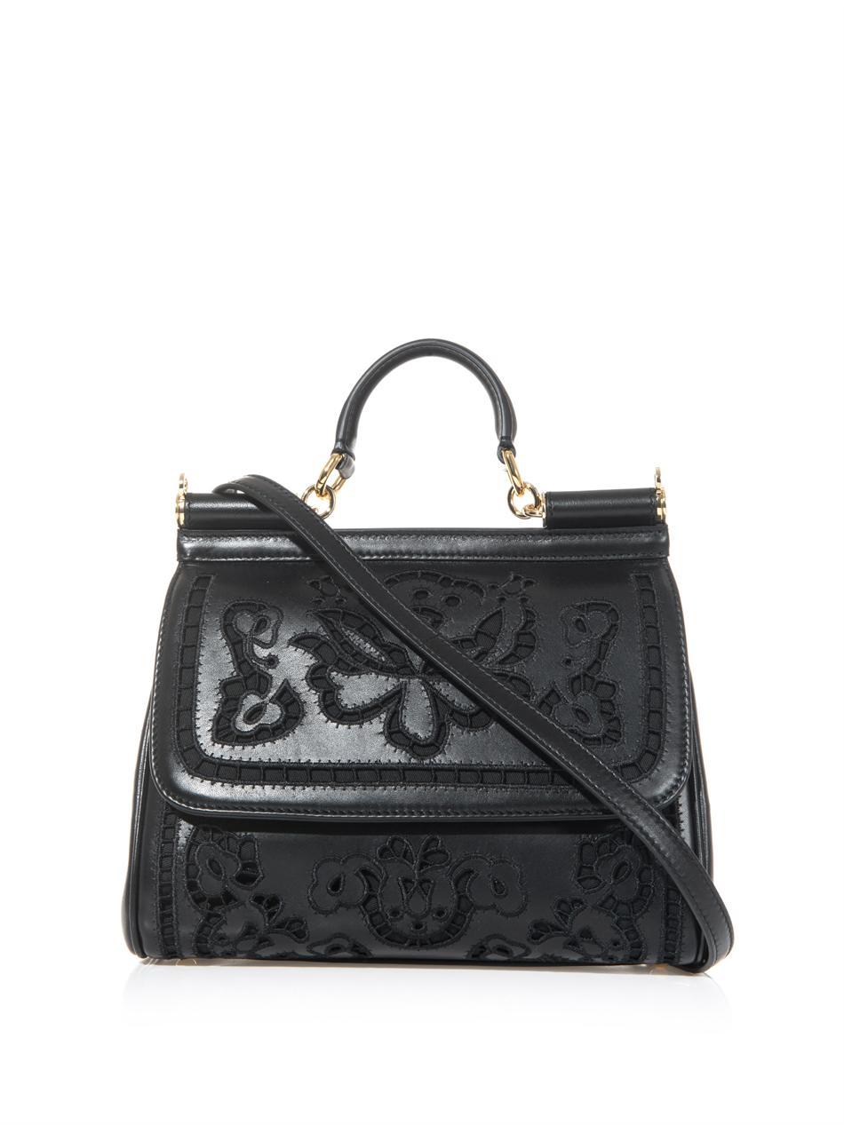 f4d5ba8ec91d Lyst - Dolce   Gabbana Sicily Embroidered Lasercut Leather Bag in Black