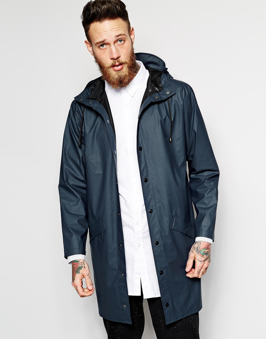 Rains Long Waterproof Jacket in Blue for Men | Lyst