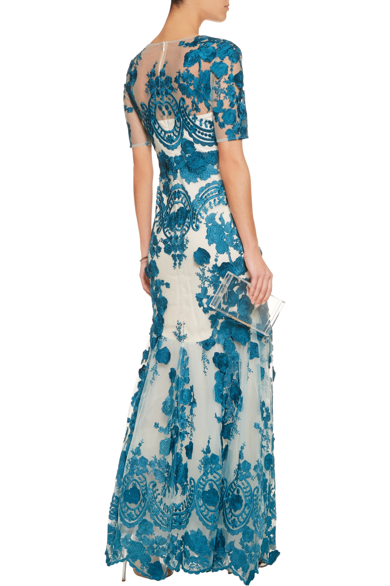 5a9e4d9594c0 Marchesa notte Embroidered Tulle Gown in Blue - Lyst