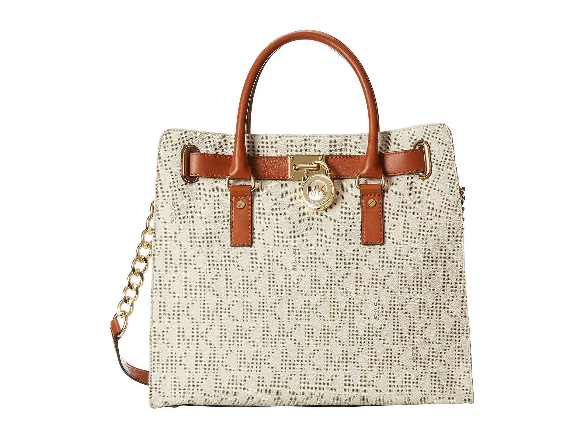 Lyst - MICHAEL Michael Kors Hamilton North south Tote With Pvc Logo in Brown b70d345400