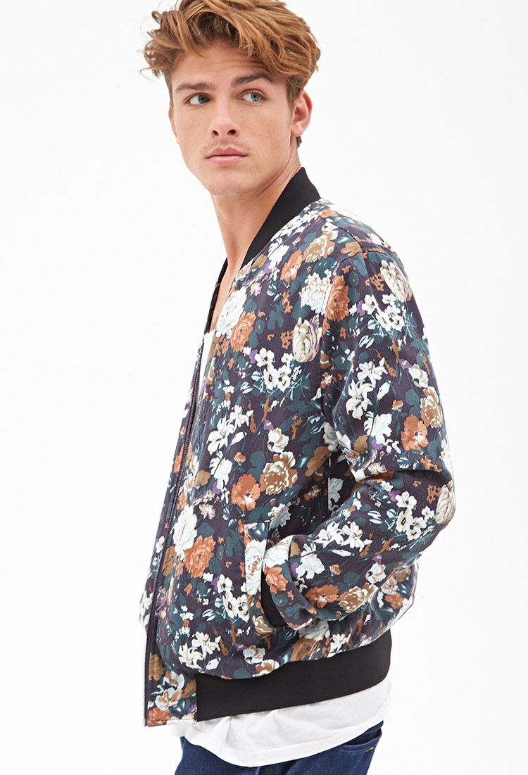 Mens Floral Bomber Jacket - Coat Nj