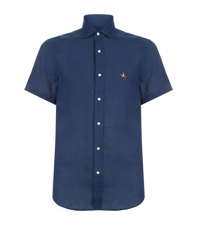 Pink pony linen embroidered horse shirt in blue for men lyst