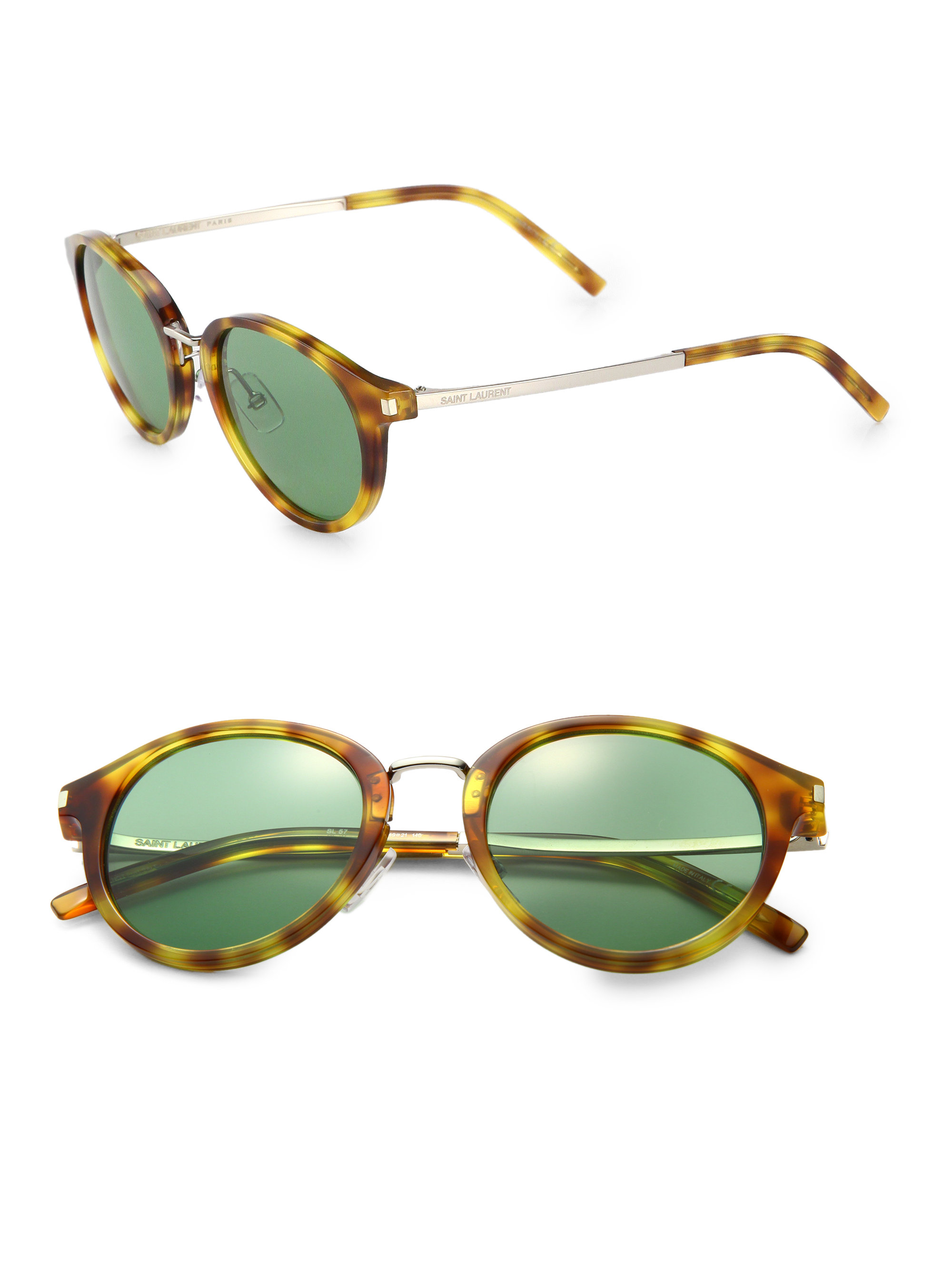 Saint laurent Round-Frame Sunglasses in Yellow for Men ...