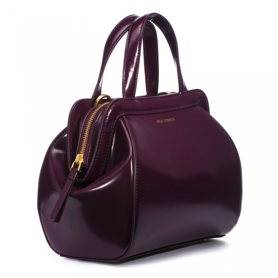 f2bc0936fc Lyst - Lulu Guinness Damson Polished Leather Small Paula in Purple