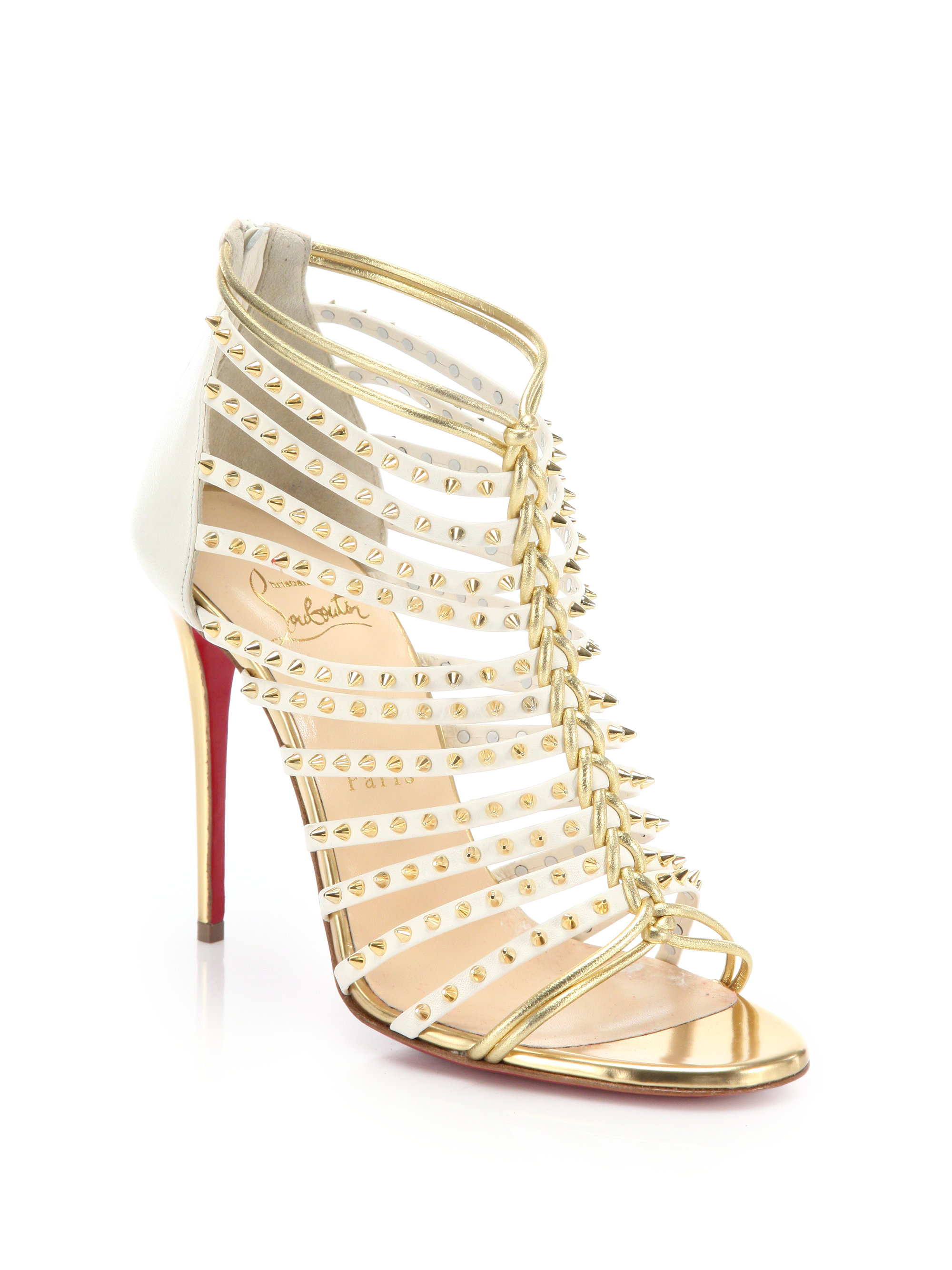 Lyst - Christian Louboutin Millaclou Studded Leather Sandals in Metallic 2565461dda