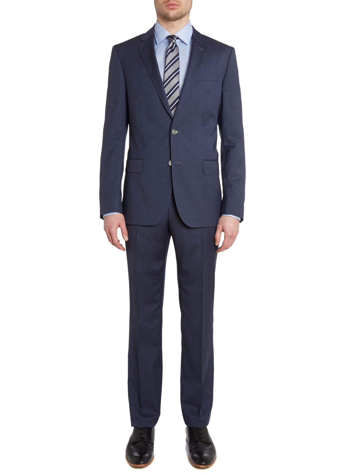 hugo boss hutsongander slim fit fine stripe suit in blue for men. Black Bedroom Furniture Sets. Home Design Ideas