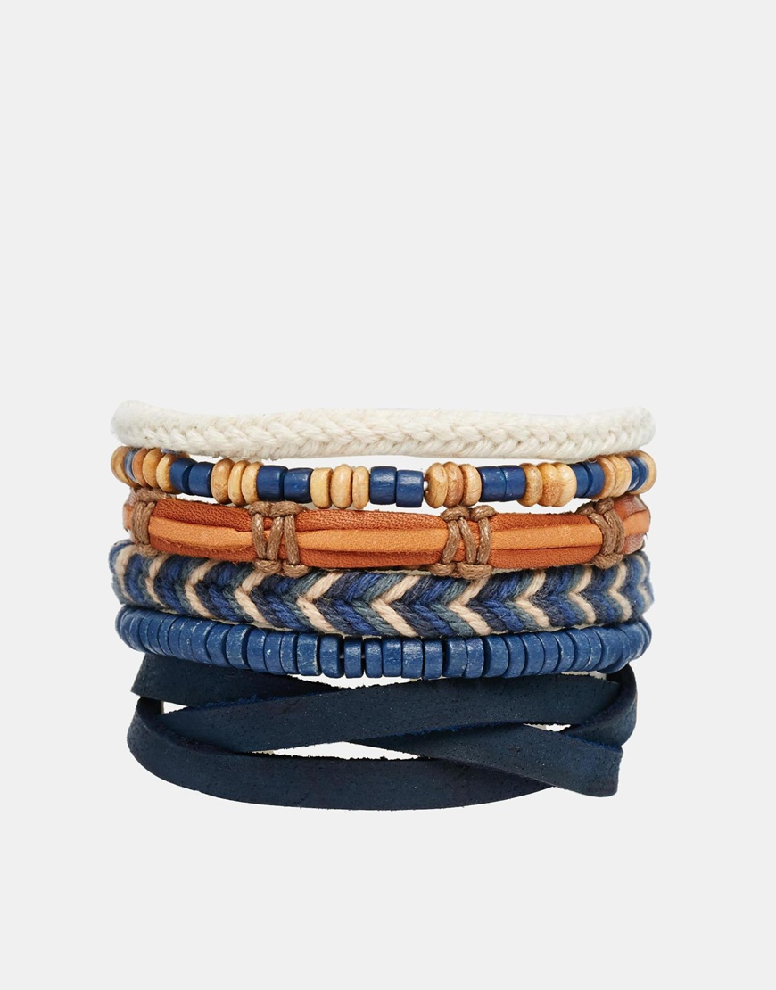 asos leather bracelet pack in blue in brown for lyst