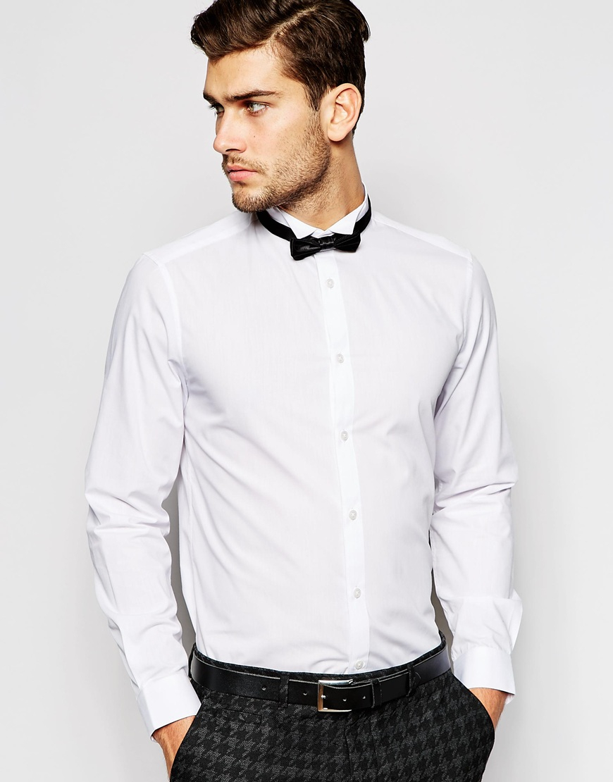 Lyst Asos Smart Shirt With Long Sleeve And Wing Collar With Bow