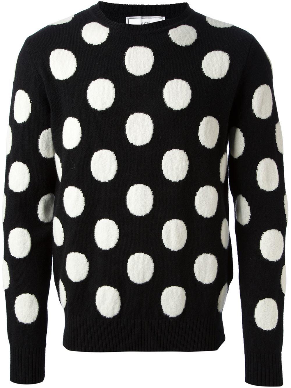 Lyst Ami Polka Dot Sweater In Black For Men