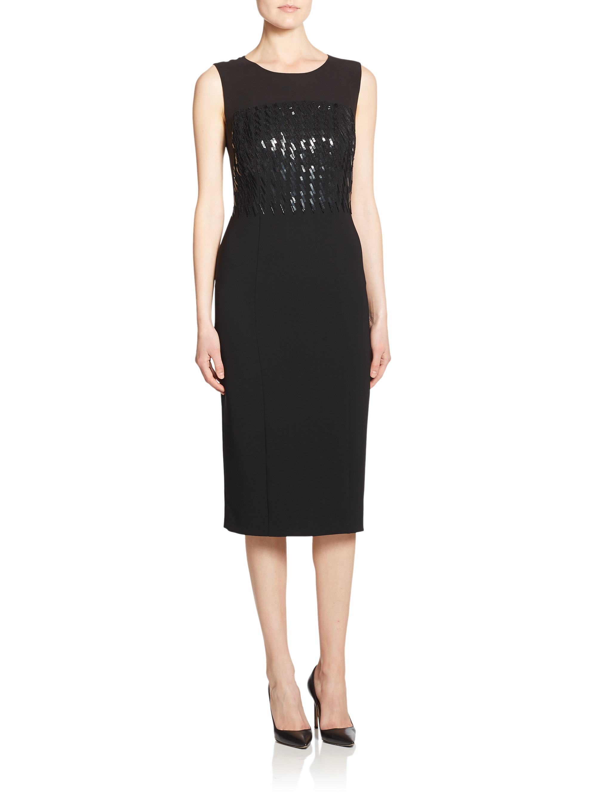 bead embellished sheath dress in black lyst