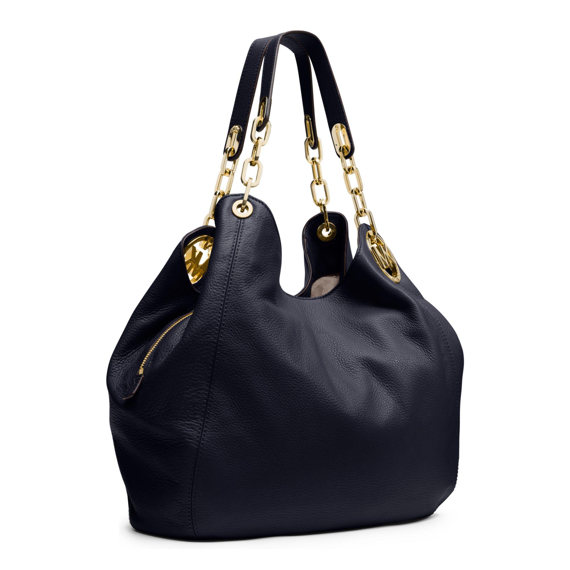 michael kors fulton large leather shoulder bag in blue lyst. Black Bedroom Furniture Sets. Home Design Ideas