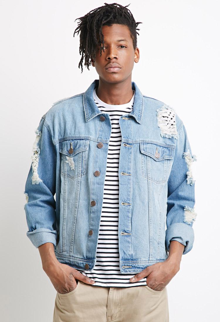 Forever 21 Destroyed Denim Jacket in Blue for Men | Lyst