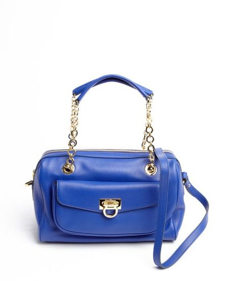 ... Sapphire Blue Leather Chainlink Strap Shoulder Bag in Blue (sapphire