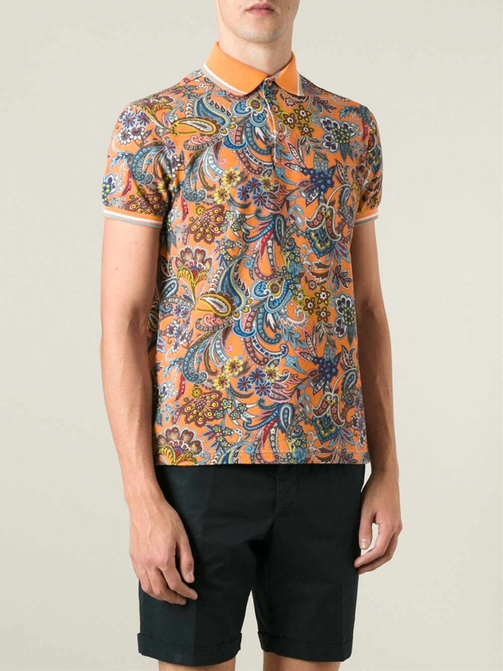 Etro paisley polo shirt in multicolor for men yellow for Etro men s shirts
