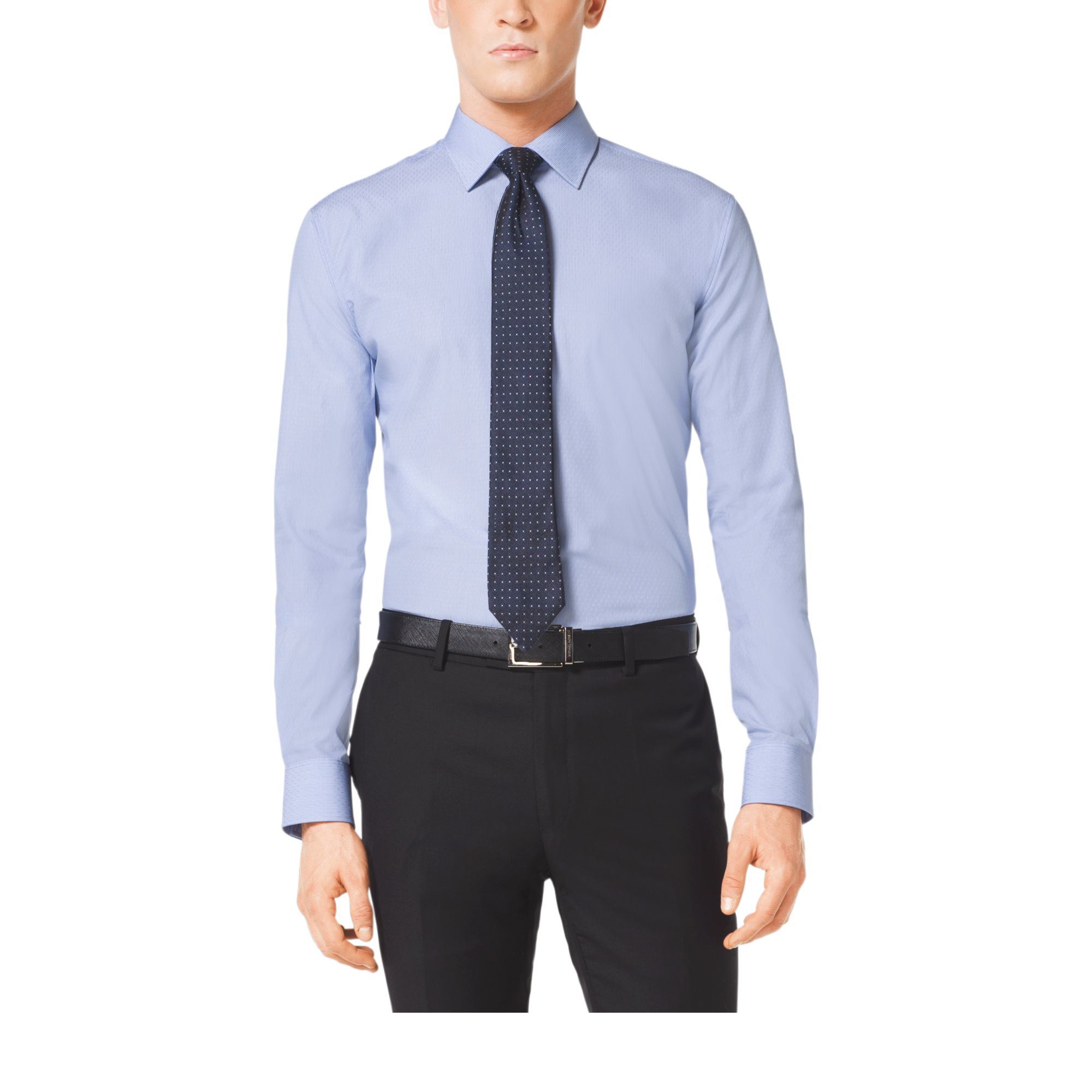 michael kors cotton dress shirt in blue for men lyst. Black Bedroom Furniture Sets. Home Design Ideas
