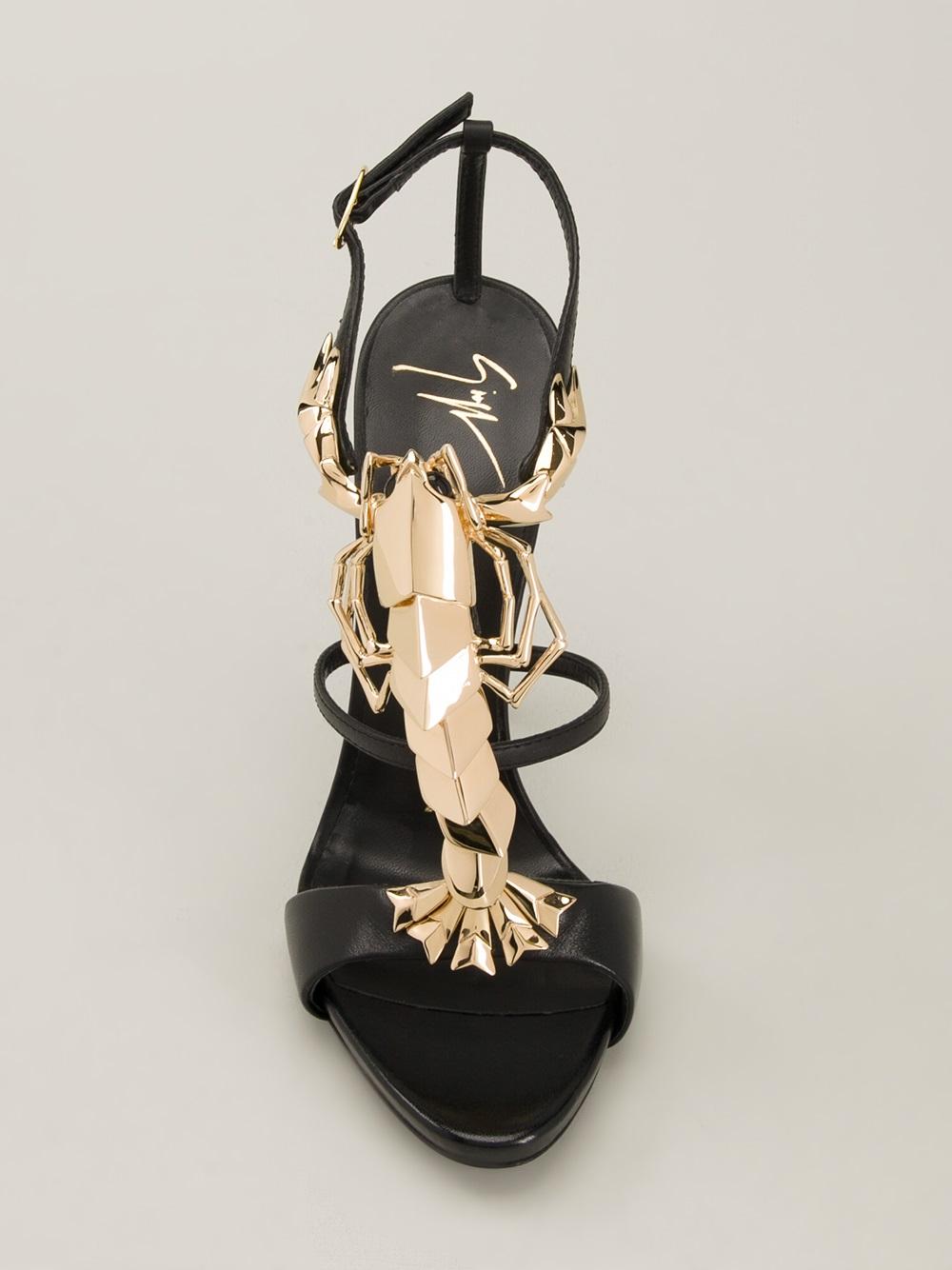 932e20a210ee6 Giuseppe Zanotti Lobster Jewel Sandals in Black - Lyst