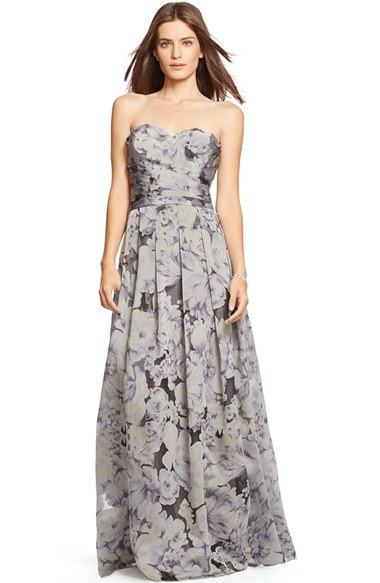 Lyst Lauren By Ralph Lauren Floral Burnout Strapless Ballgown In Gray
