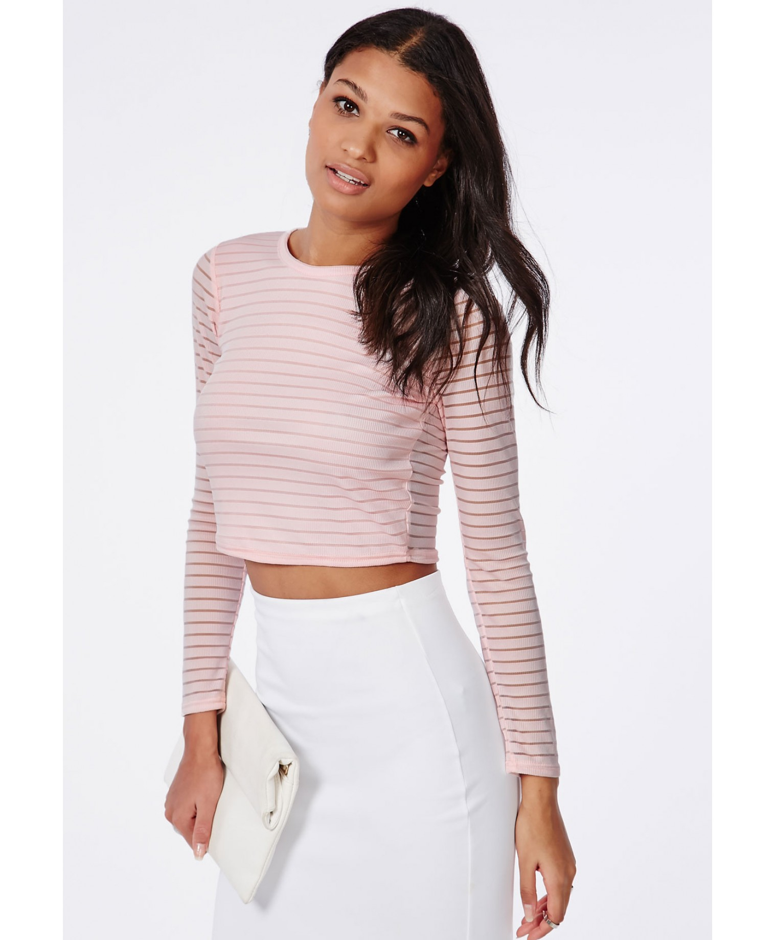 05b974135632f Lyst - Missguided Long Sleeve Stripe Burnout Crop Top Baby Pink in Pink