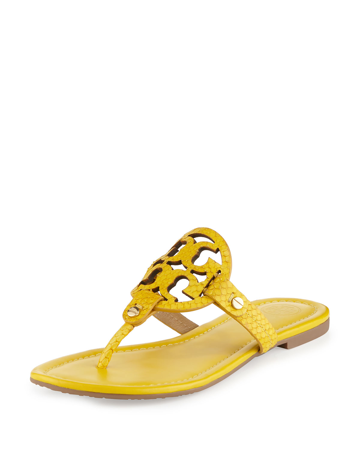 75a0444d6 Lyst - Tory Burch Miller Embossed-Leather Sandals in Yellow