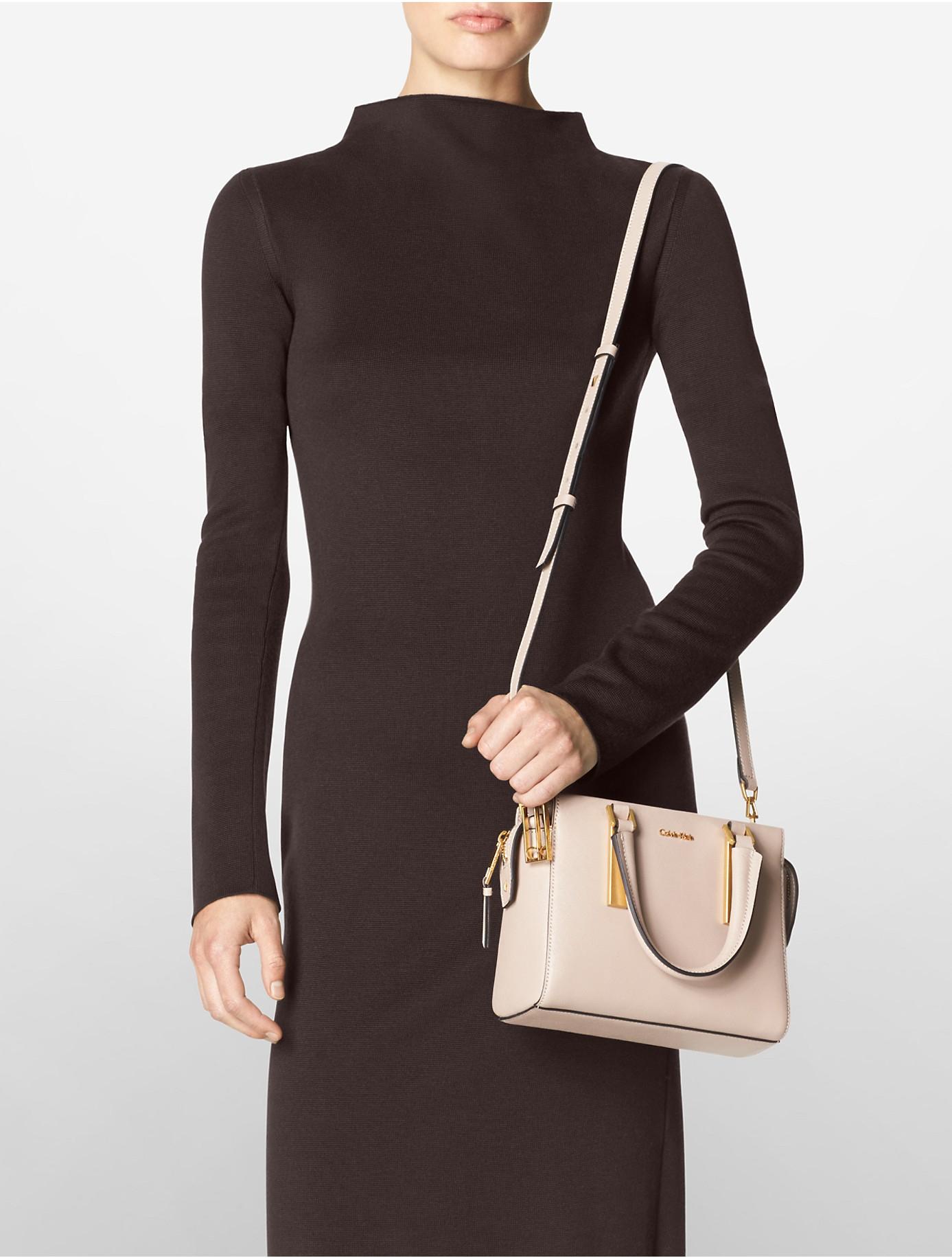 Lyst Calvin Klein Galey Saffiano Leather Studio Satchel