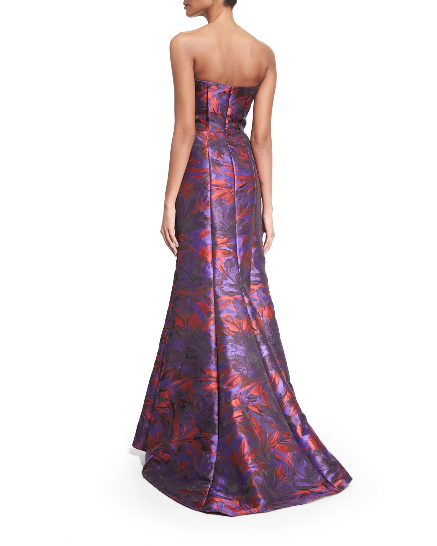 Lyst - Carmen Marc Valvo Strapless Floral-print Peplum Gown in ...
