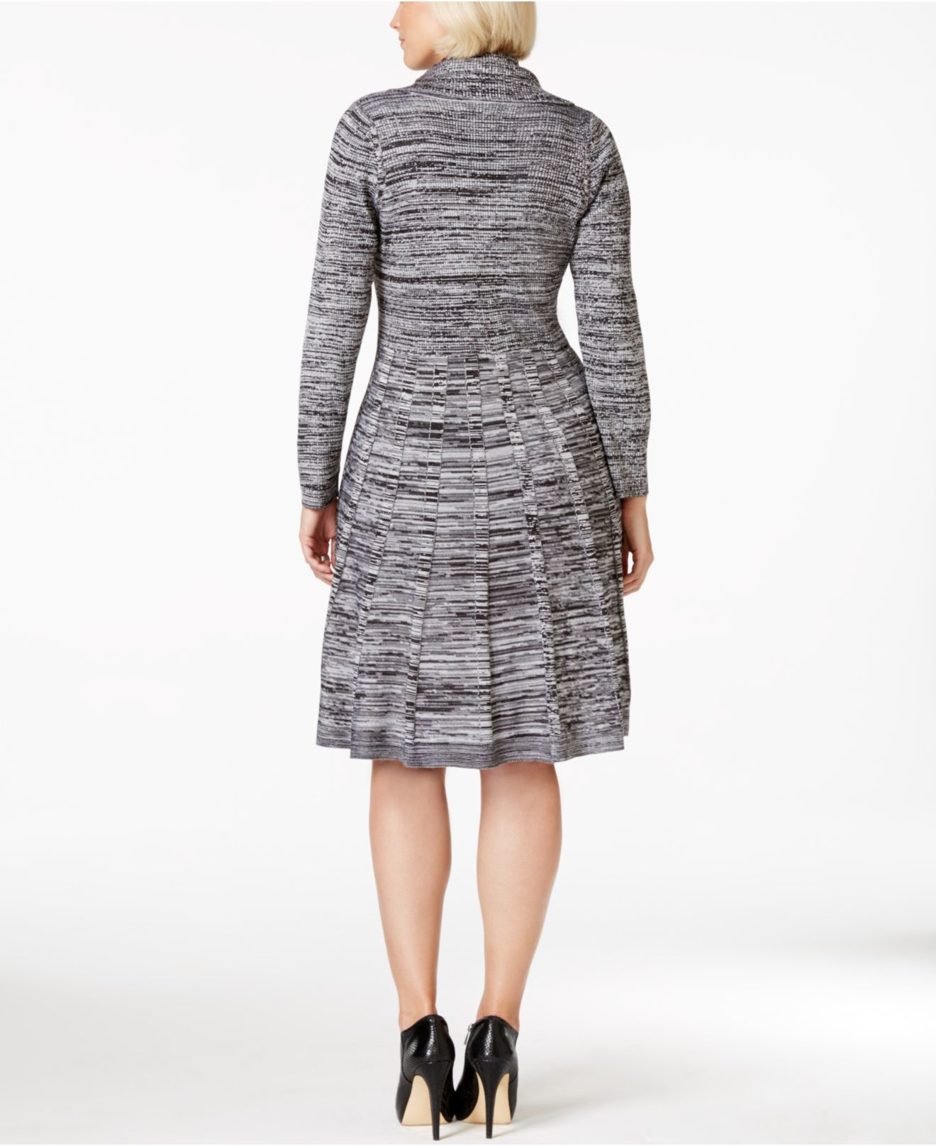 Calvin klein Plus Size Marled Cowl-neck Sweater Dress in Black | Lyst