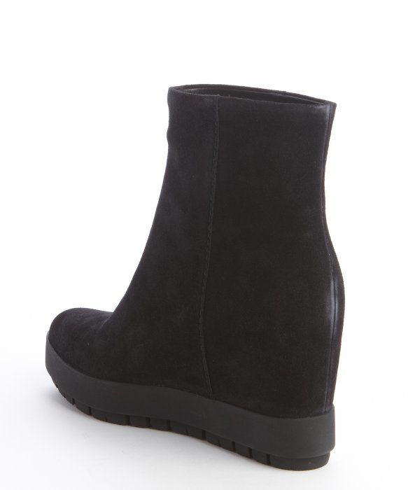 Prada Black Suede Wedge Heel Lug Sole Boots in Black | Lyst