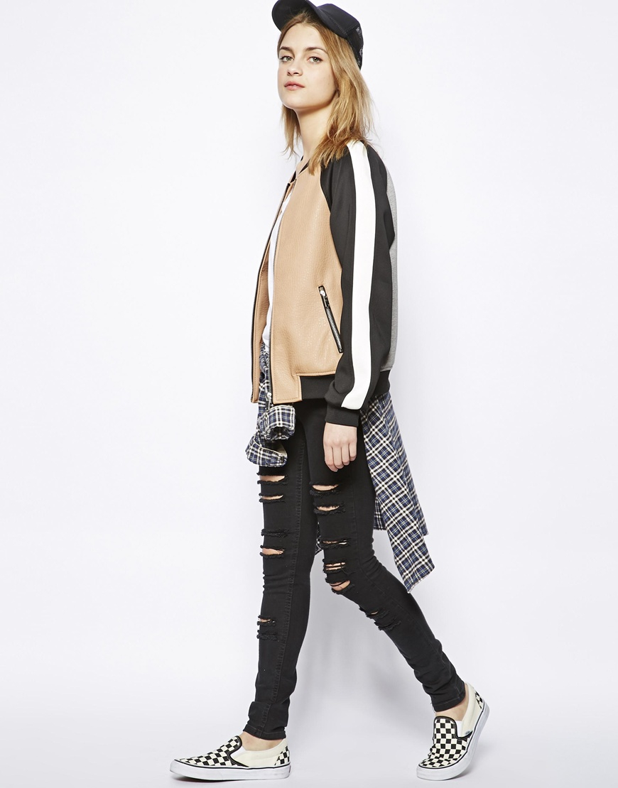 Pull&bear Colour Block Bomber Jacket | Lyst