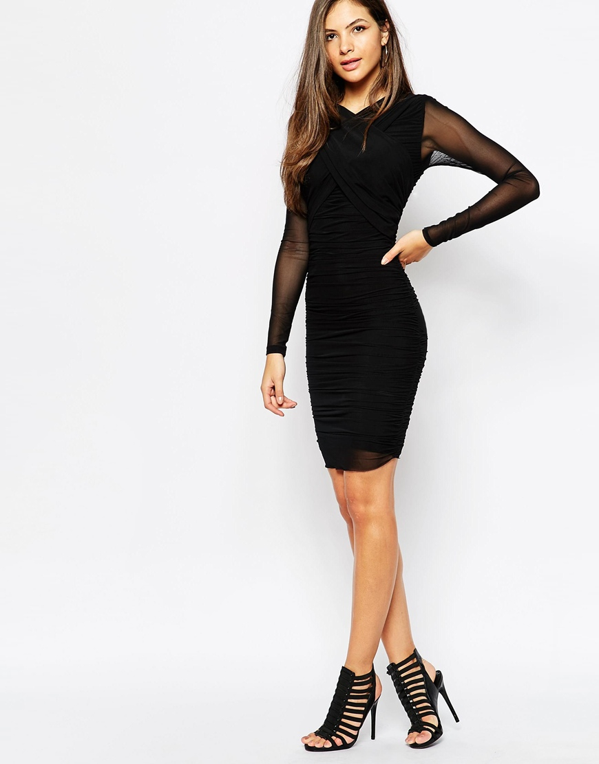 Lyst Y A S Mesh Body Conscious Dress With Sheer Long