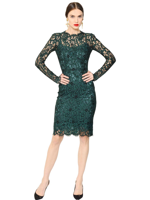 52f8b1e3 Dolce & Gabbana Cordonetto Lace Dress in Green - Lyst