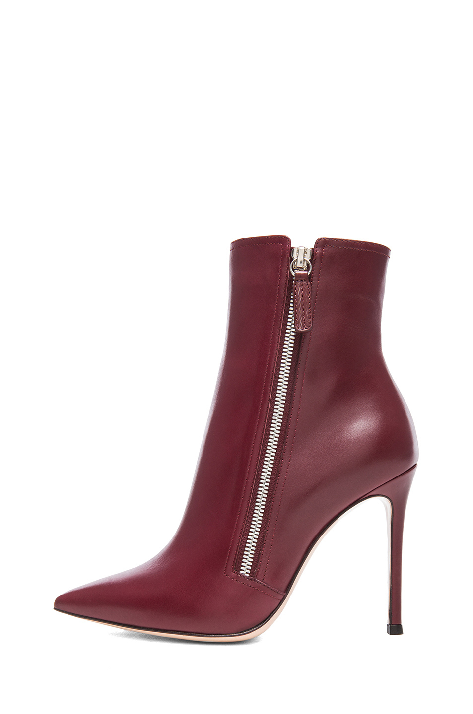 gianvito rossi leather pointed ankle leather boots in red lyst. Black Bedroom Furniture Sets. Home Design Ideas