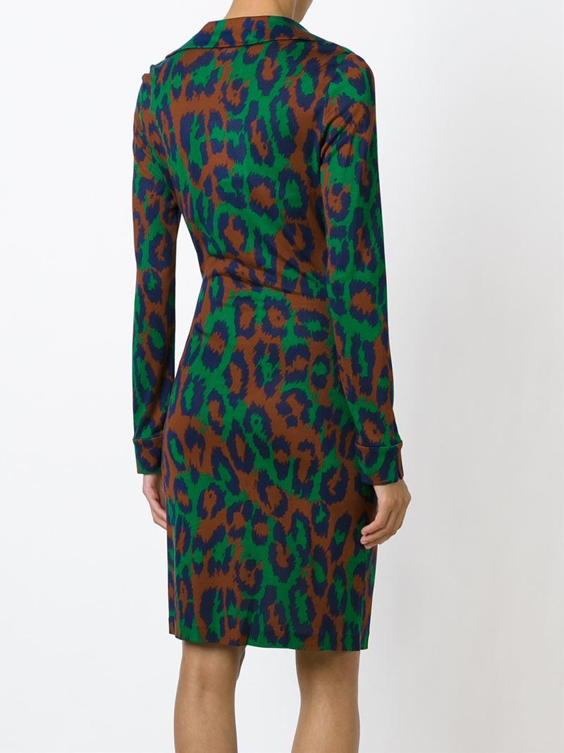 Diane Von Furstenberg Leopard Print Wrap Dress In Green Lyst