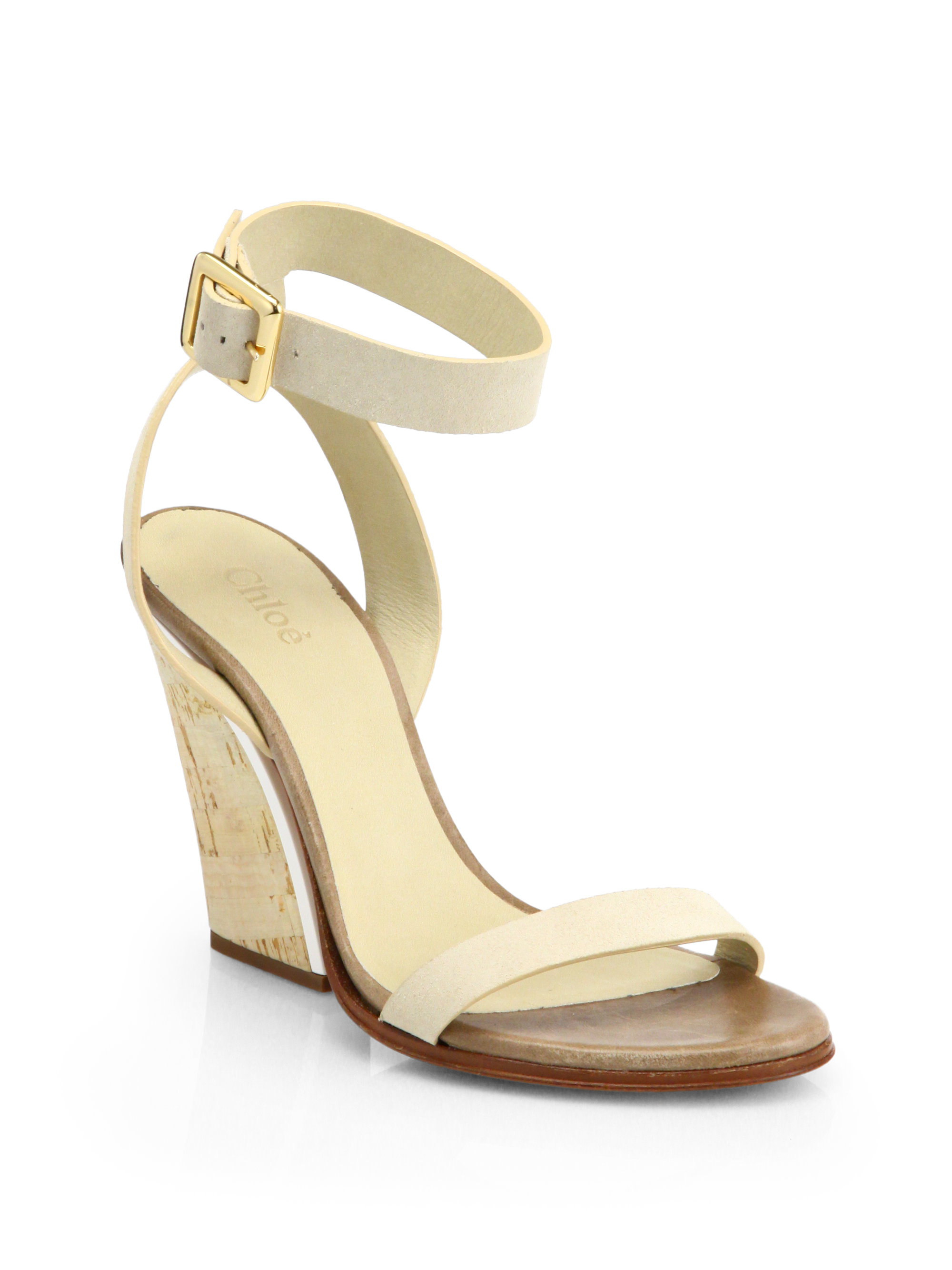 chlo 233 leather cork wedge sandals in white open white lyst