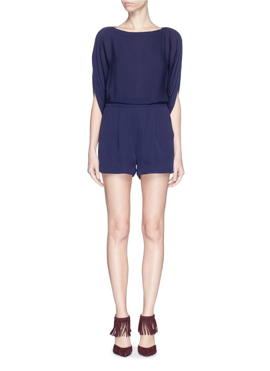 00086dfa51d Lyst - Diane von Furstenberg  soleil  Bateau Neck Silk Playsuit in Blue