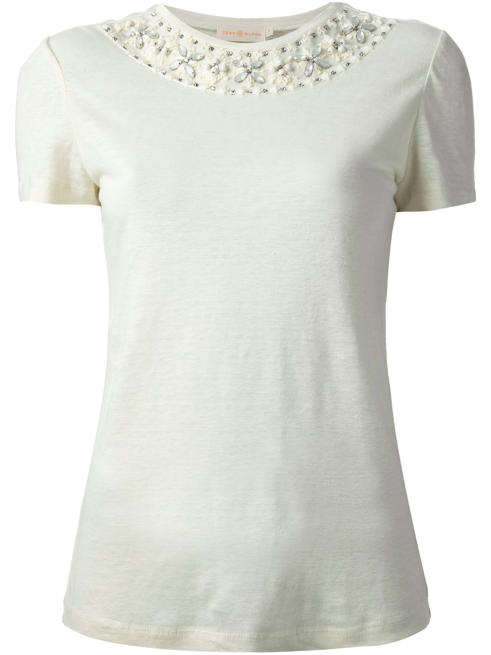 Tory burch embellished tshirt in white nude neutrals for Tory burch t shirt