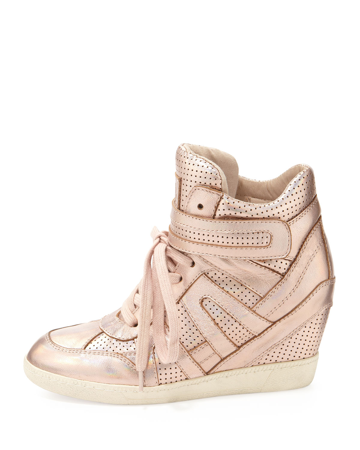 lyst ash beck metallic wedge sneaker rose gold in metallic. Black Bedroom Furniture Sets. Home Design Ideas